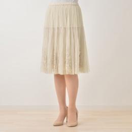 チュールテープ刺繍スカート