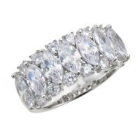 SS ダイヤモニーククリアCZ マーキスカット リング 計3.98ct