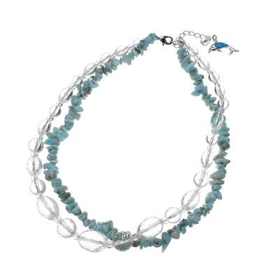 蒼い海を思わせるラリマーと水晶を組み合わせた、爽やかにきらめく2連ネックレス。