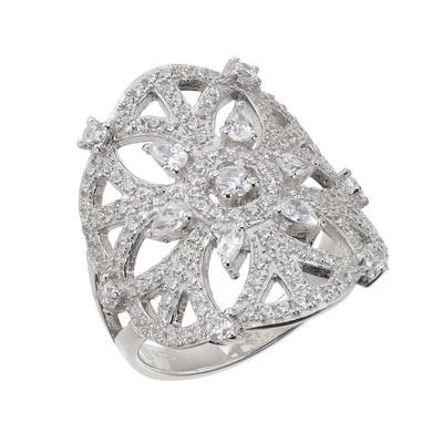 キュービックジルコニアの精緻な輝きが指元を包む、幾何学模様のエスニック調リング。