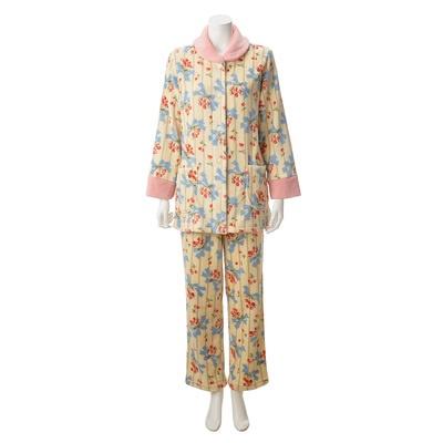 LOUARGE ふわふわ暖か リボン柄 前開きパジャマ