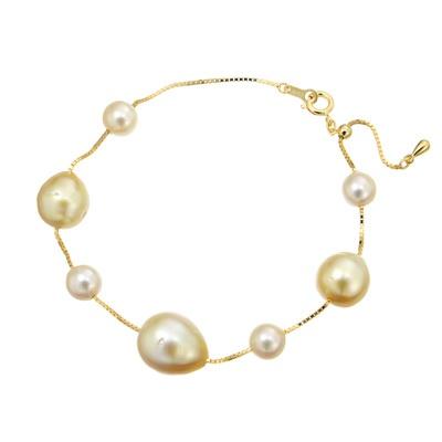 南洋真珠とアコヤ真珠がリズミカルに配置された、ボリューム感のあるブレスレット。