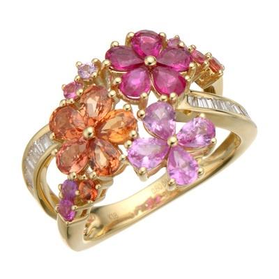 ルビー、オレンジサファイヤ、ピンクサファイヤのお花が咲き誇る、艶やかなリング。