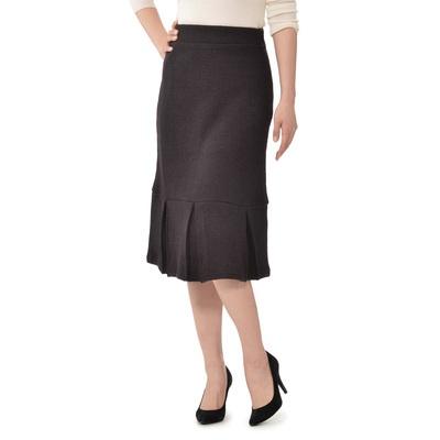 腰から脚まで、ふわっと暖かに包むダブルニット。フェミニンラインのスカートです。