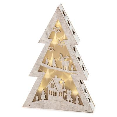 揺らぐあかりが灯る、クリスマスをイメージした木製のインテリアです。