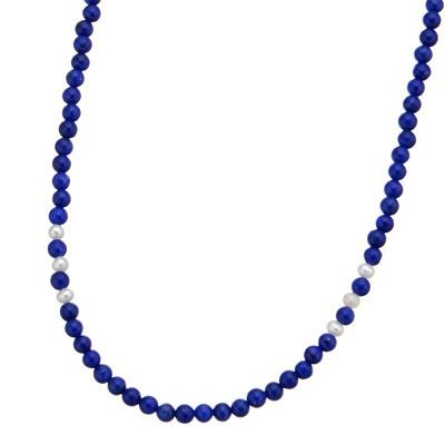 小さなラピスラズリの丸珠をびっしりと繋げ、シードパールをアクセントに加えました。