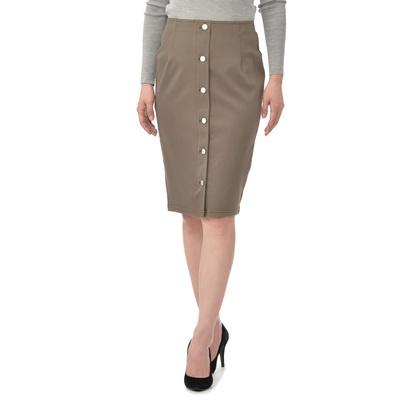 柔らかなデニム調のニット素材を使用。前ボタンがポイントのお洒落なスカートです。