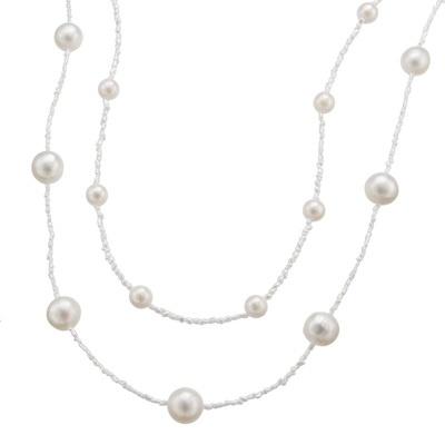 WhiteSkin 白蝶真珠&アコヤケシ真珠 ネックレス - 639729
