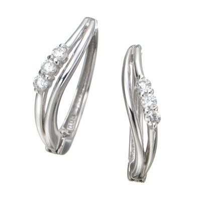 ピアリング 14KWG ダイヤモンド 計0.06ctUP - 642752