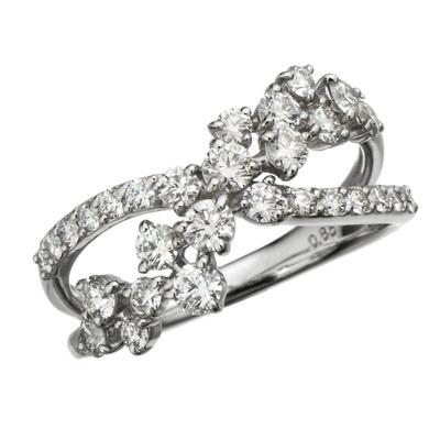 18KWG ロシアンダイヤモンド リング 計0.85ctUP - 663682
