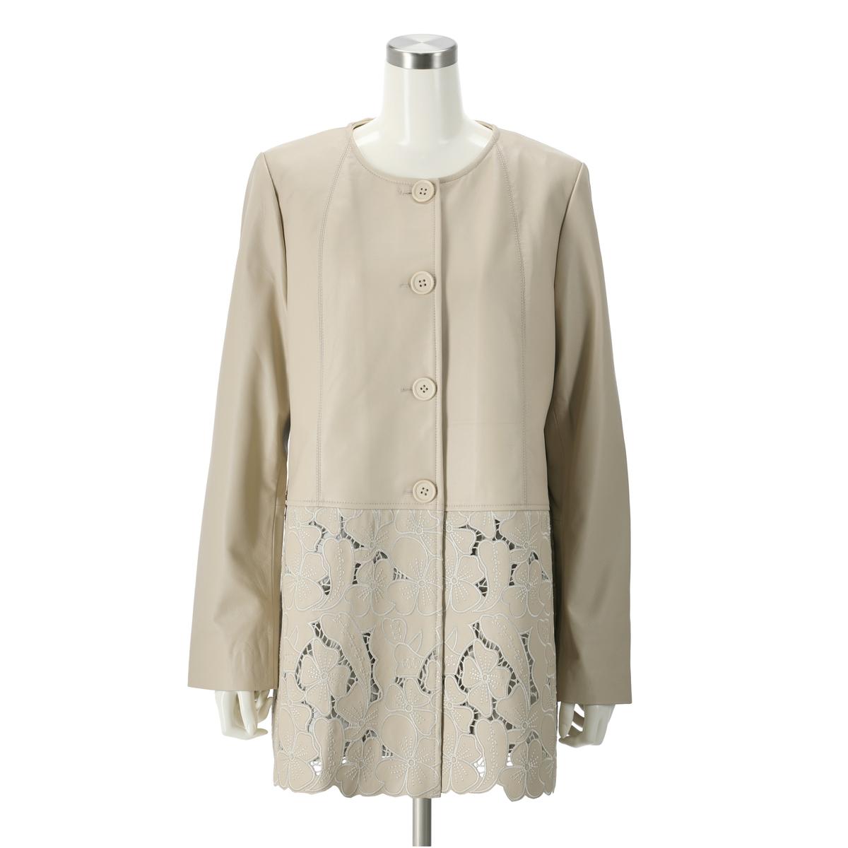 裾レースラムレザーロングジャケット