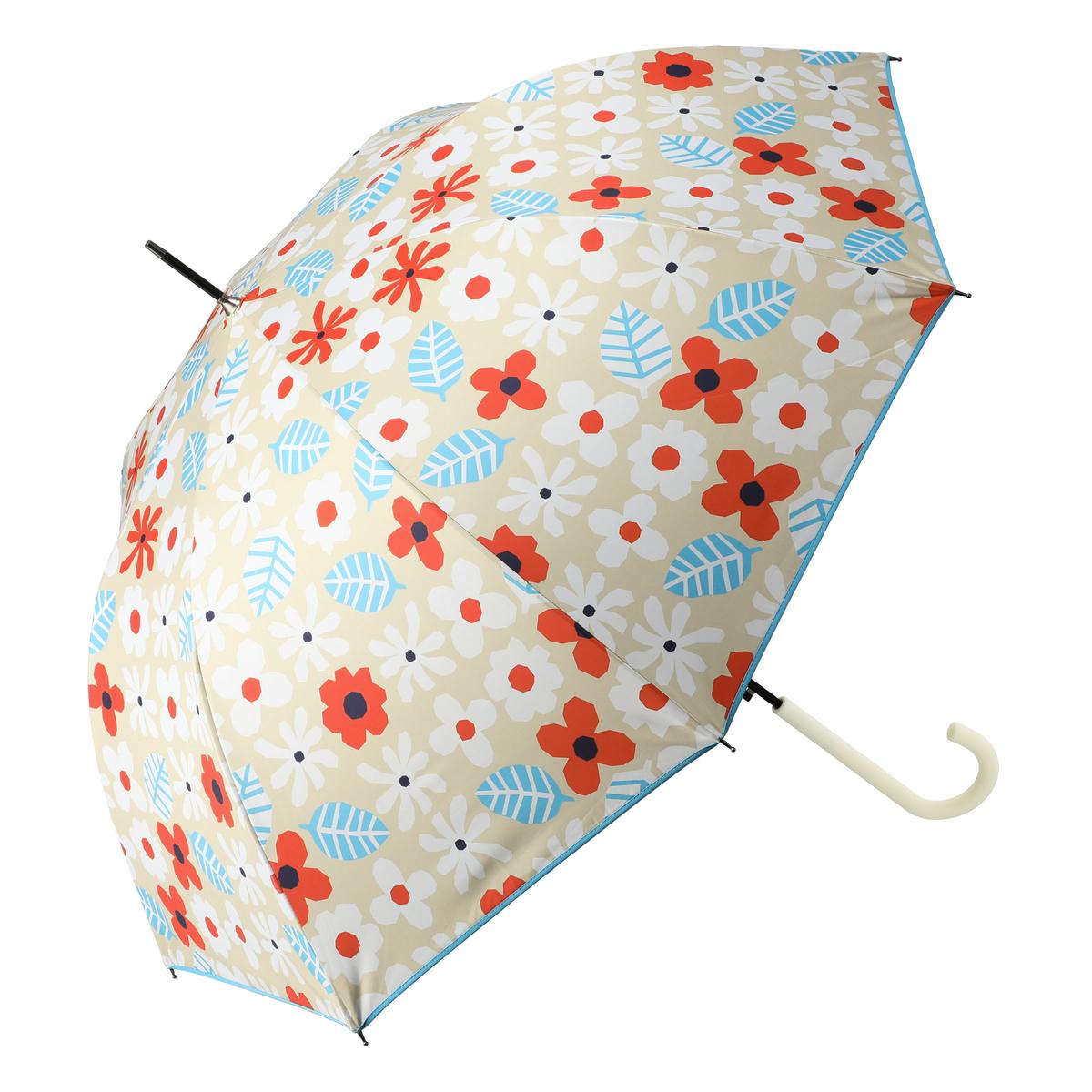 ルナジュメール UV+1級遮光+晴雨兼用北欧花柄長傘
