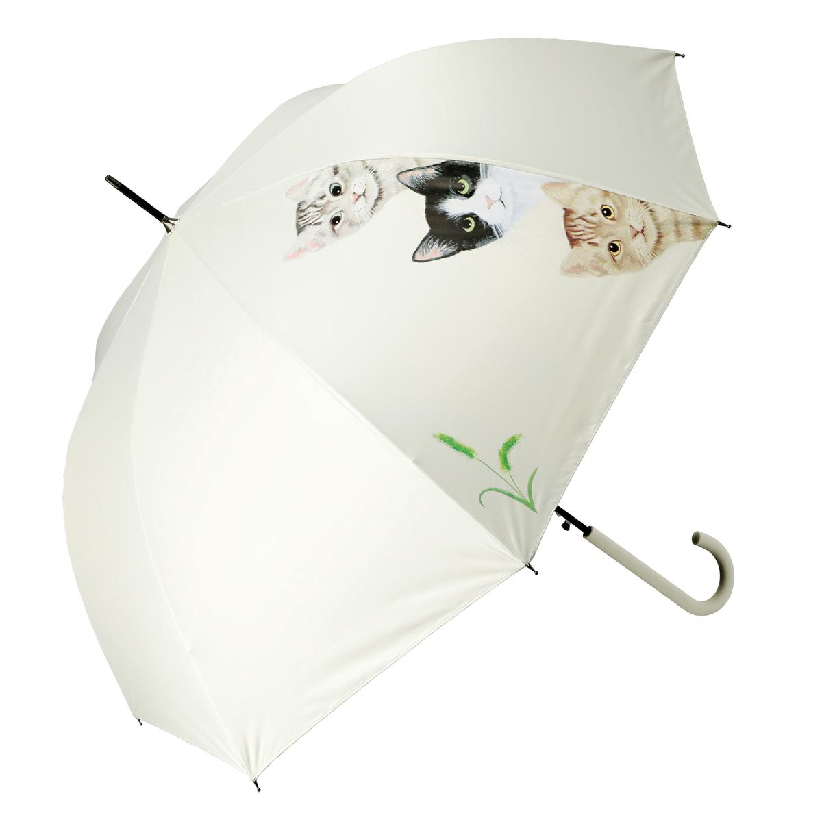 ルナジュメール UV+1級遮光+晴雨兼用ネコ×3柄 長傘