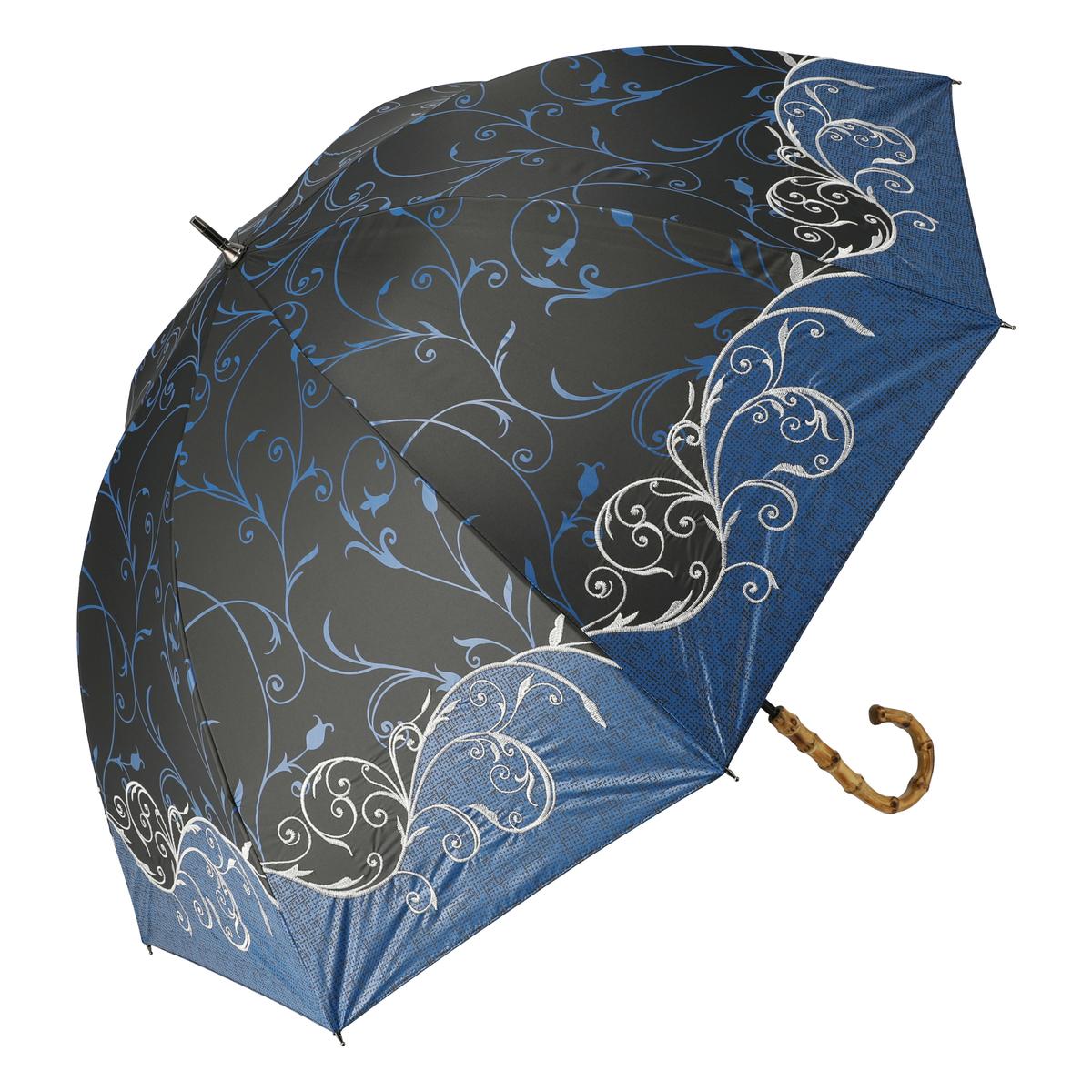 ルナジュメール UV+1級遮光オリエンタル柄刺繍晴雨パラソル