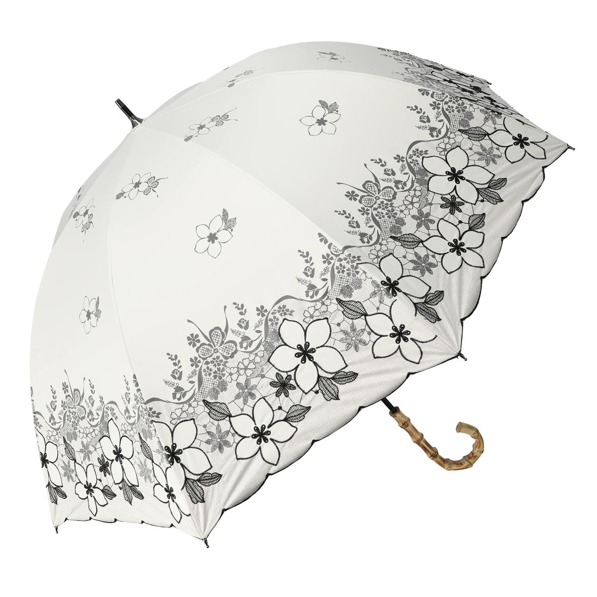 ルナジュメールUV+1級遮光花レース刺繍晴雨兼用パラソル