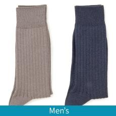 <QVCジャパン> ささ和紙 メンズリブ靴下カラーが選べる2点セット
