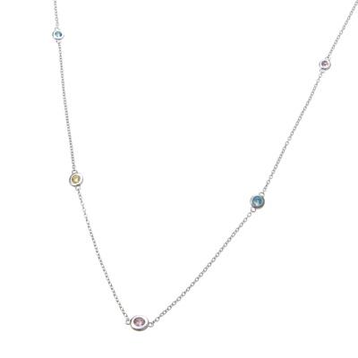SSダイヤモニーククリア&マルチCZ シンプル チェーン ネックレス