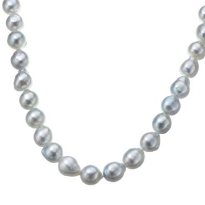 アコヤ真珠ナチュラルカラー 8mm珠 オールノット ロングネックレス