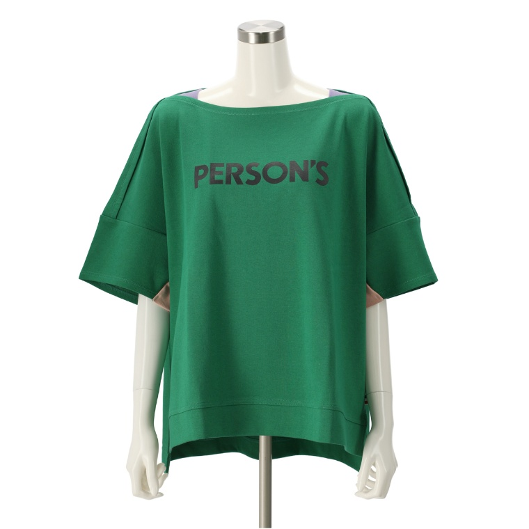 PERSONS ボートネックロゴTシャツ