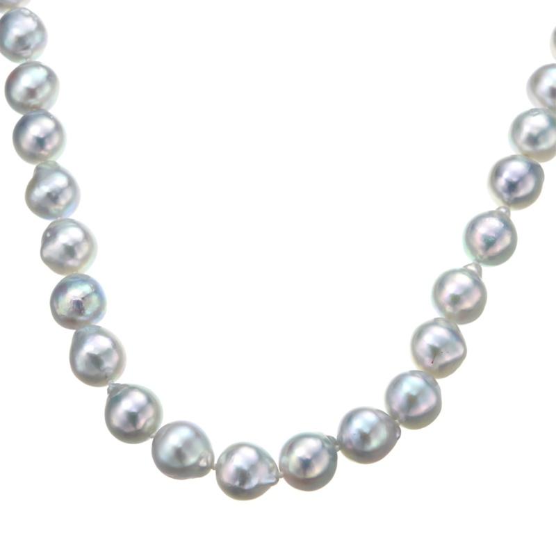 アコヤ真珠ナチュラルカラー8.5mm珠オールノット ロングネックレス