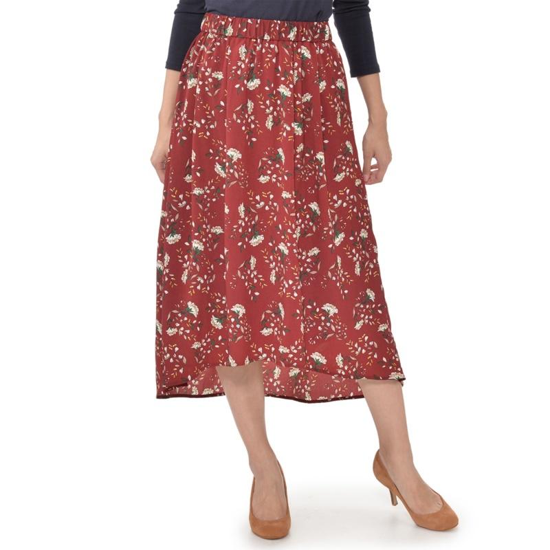 RosePeche フラワープリントイレギュラーヘムスカート
