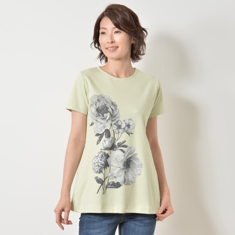 フラワー 半袖ラウンドネックロングTシャツ