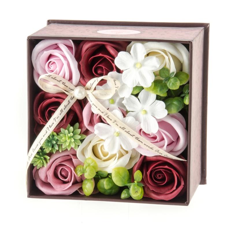 QVCジャパンお花のカタチのギフト フレグランスフラワー アンティークボックス