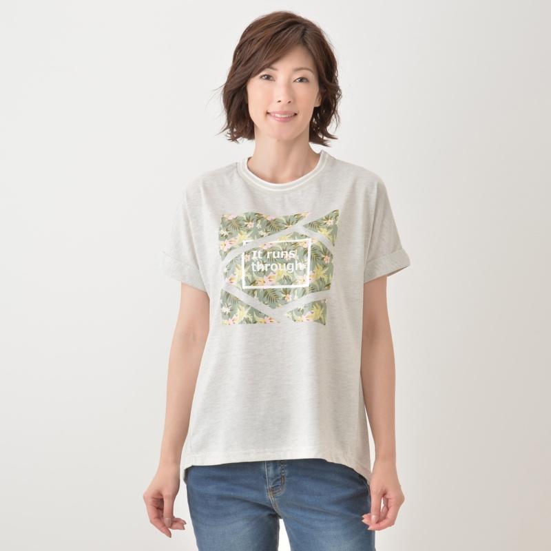 fly away ボタニカルプリントTシャツ