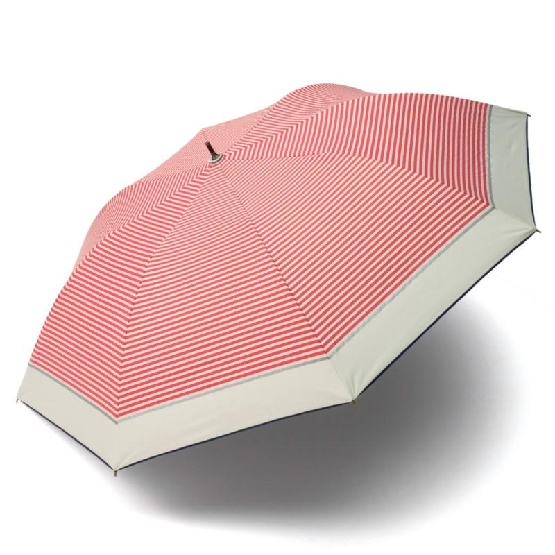 簡単持ち運び晴雨兼用ワイド傘 フレンチマリンボーダー