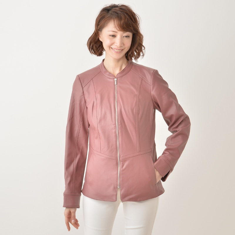 Denim & Co.フェイクレザー ジップアップペプラムジャケット