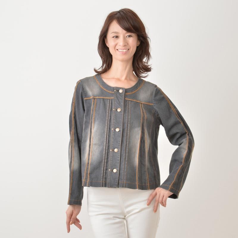 デニム刺繍ジャケット