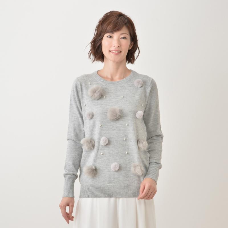 MIELIALA キラフワ可愛いボンボンセーター