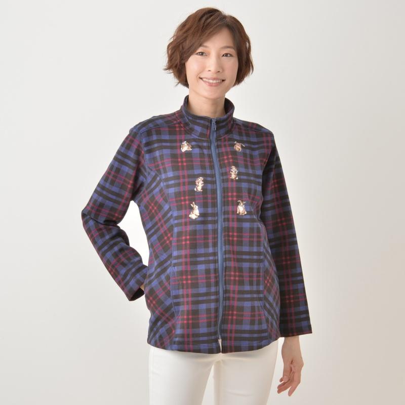 ラビット刺繍ジップアップジャケット