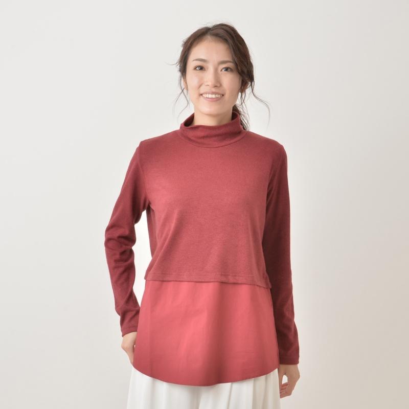 Crystalia 裾シャツコンビハイネックプルオーバー