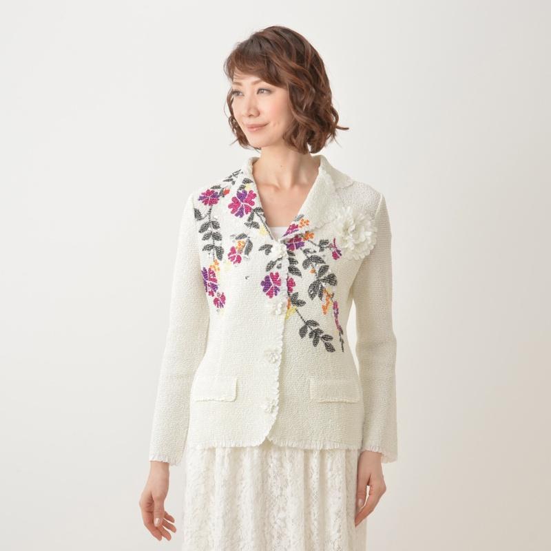 ラメ糸刺繍テーラードジャケット